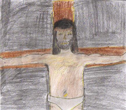 Christ on the Cross, freehand with colored pencils by Irene, age 12