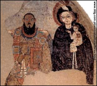Nubian bishop portrayed with the virgin Mary