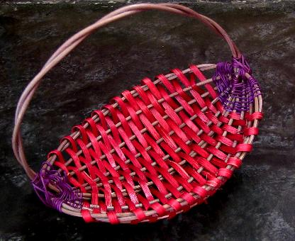 Reed basket handwoven by Beni, 2014