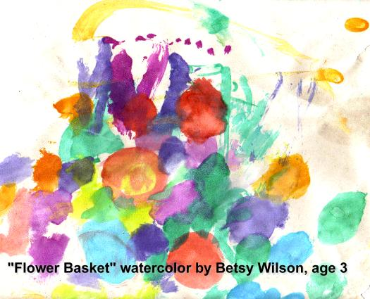Flower Basket, watercolor by Betsy, age 3