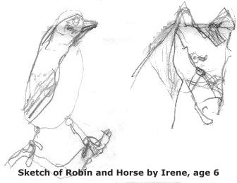 Sketches of Robin and Horse, by Irene age 6 1/2