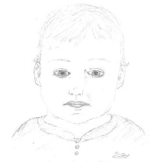 Charcoal Portrait of baby by Grace Anne, 2013